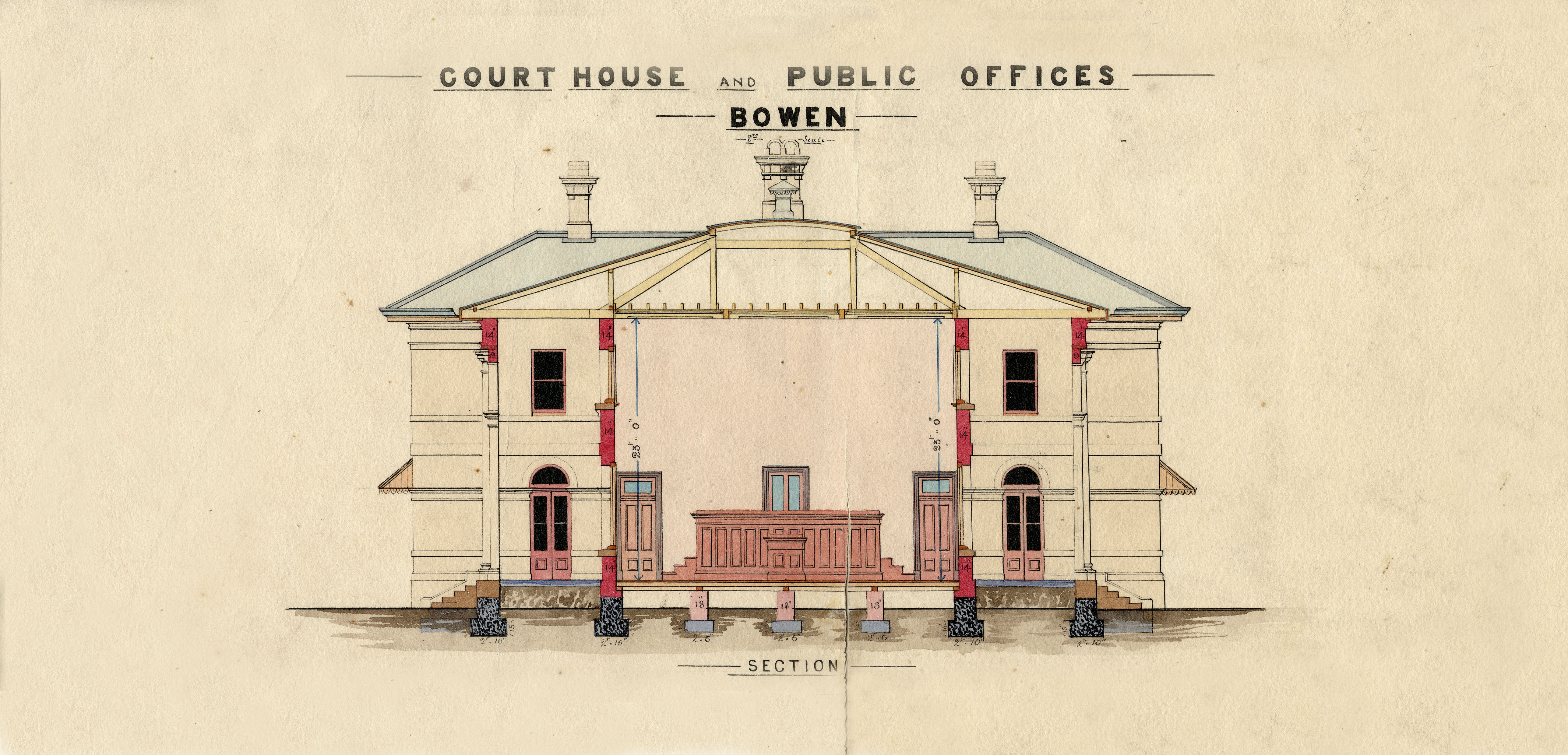 BOWEN. Court House and Public Offices. Sections and Court elevation.