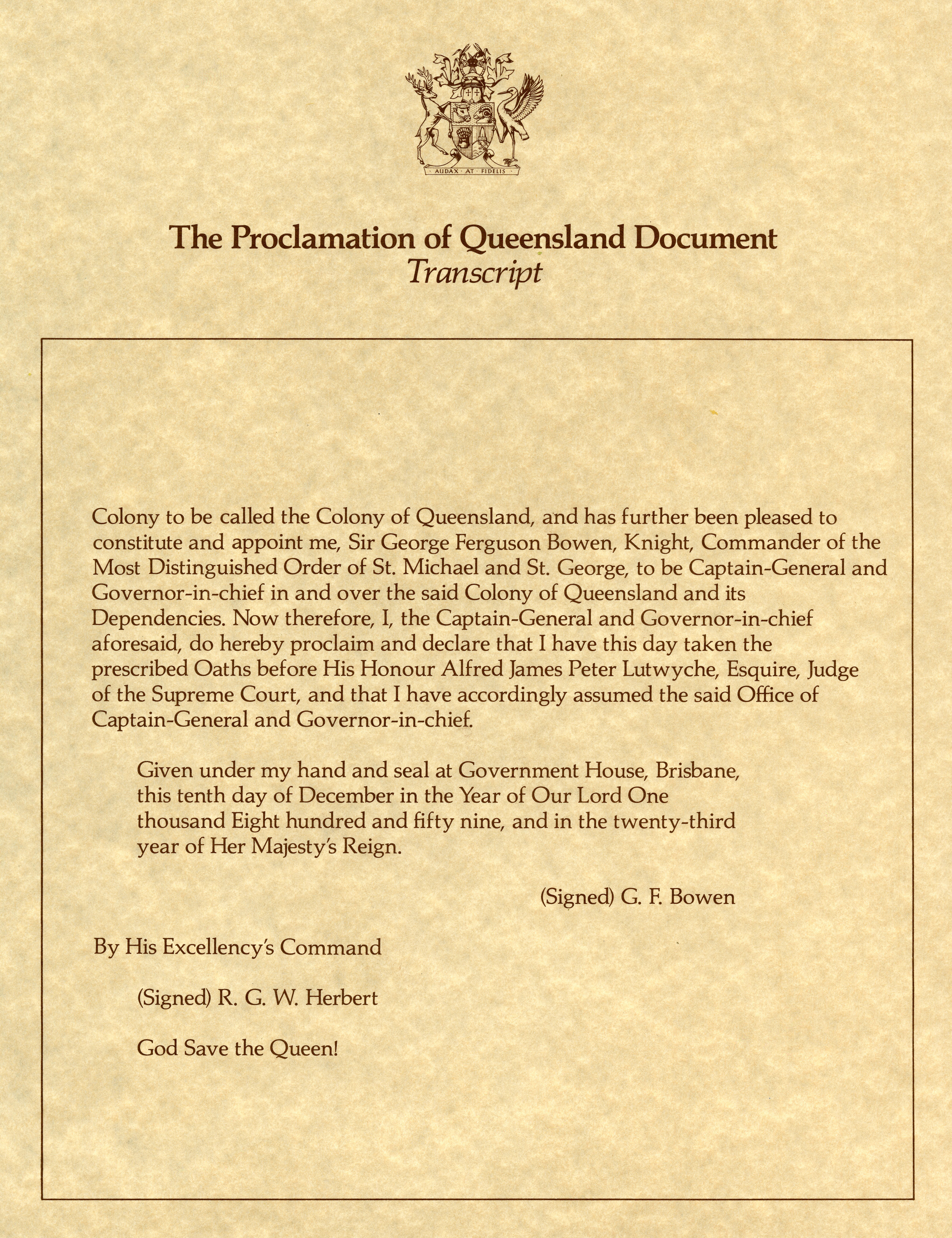 Transcript of the Proclamation of Queensland document page 2