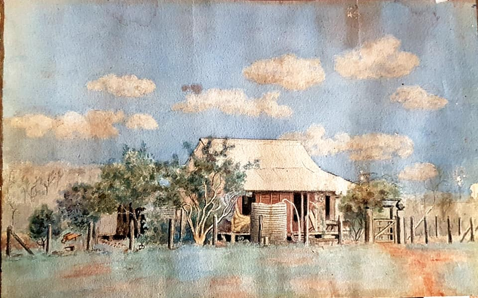 Watercolour painting by Ruby Campbell that may depict the original Kilburnie homestead.  It shows a single-storey slab building with surrounding shrubbery and what appears to be the posts of a fence.