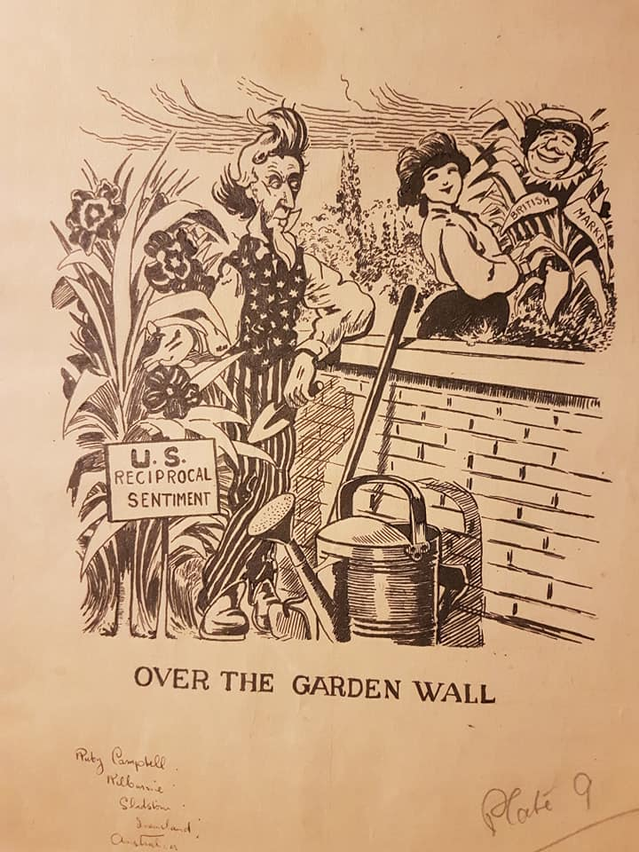 "Black and white ink drawing of Uncle Sam in his Stars & Stripes suit, and a young woman (representing Britain) standing on either side of a garden wall, watering their plants.  The caption underneath reads ""U.S. Reciprocal Sentiment"""