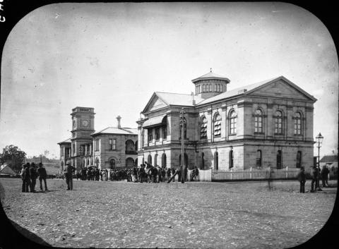 View of Court House and Post Office in Toowoomba, c1880