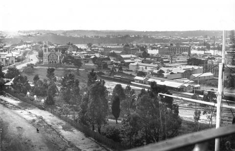 Elevated view of the Brisbane Floods of 1890
