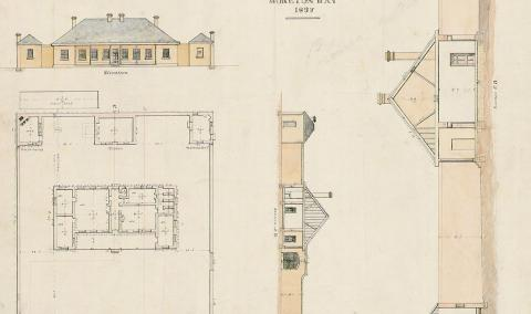 Hand drawn plans for the female factory showing the front and aerial views of the building
