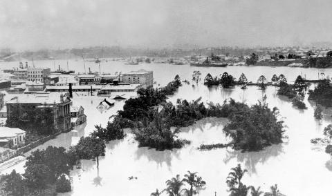 Aerial view of the flooded Brisbane botanical gardens of 1873