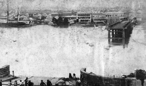 The location where Victoria bridge had been washed away, showing to ends of the bridge on each bank