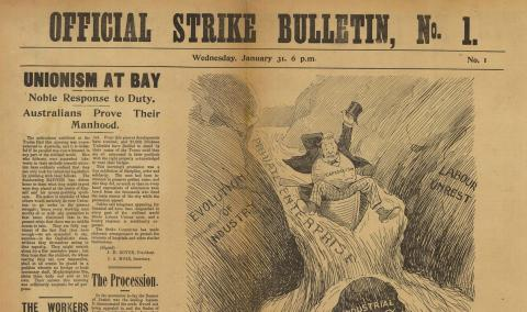 Front page of the Official Strike Bulletin No.1, 1912
