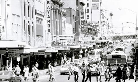 The main shops of Queen Street, showing busy patronage in the early 1980s