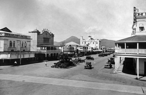 Street scape of Lake Street in Cairns showing some stores and an empty street