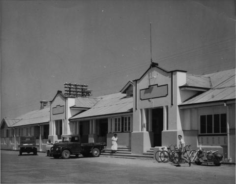 Exterior of the railway station in Mackay, made of wood