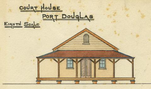 Hand drawn image of the plan for the Port Douglas courthouse