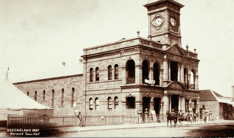 Warwick Town Hall, 1897, seen from across the road showing the large clock tower