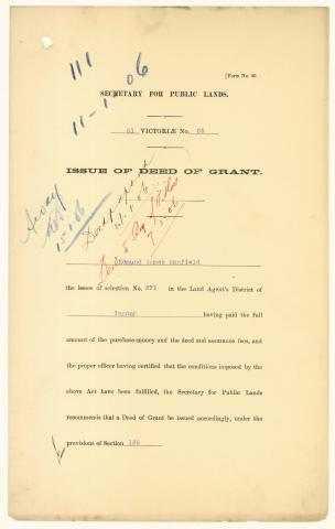 QSA DID 2802: Deed of grant issued to Edmund James Banfield, the lessee of selection no. 271 on Dunk Island in the Land Agent's District of Ingham, dated 24 January 1906