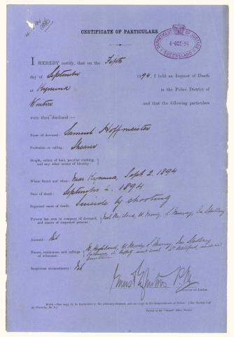 QSA DID 2812: Part of inquest into the death of Samuel Hoffmeister at Dagworth Station on 2 September 1894