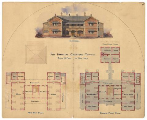 Architectural drawing of the Hospital, Charters Towers