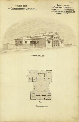 Architectural plan of the Court House, Charters Towers