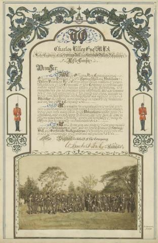Illuminated address presented to Sir Charles Lilley