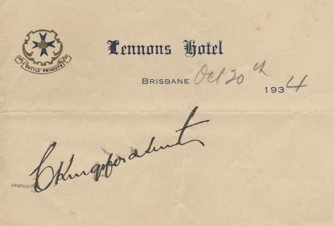 Signature of Charles Kingsford Smith on Lennon's Hotel notepaper