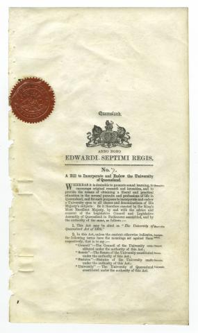 The University of Queensland Act of 1909