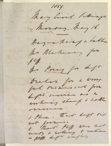 First page extract from the Civil Sittings Notebook of Judge Lutwyche, the Resident Judge at Brisbane, Moreton Bay, 16 May 1859