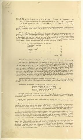 "Report and Decision of the Marine Board of Queensland on the circumstances attending the foundering of the RMS ""Quetta"" off Mount Adolphus Island, Torres Strait, on 28 February, 1890"