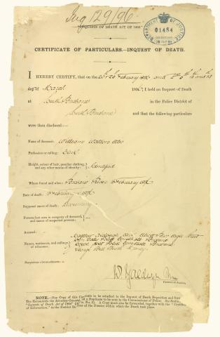 """Certificate of Particulars – Inquest of death"" form for William Watson Ellis who died on 13 February 1896 by drowning"