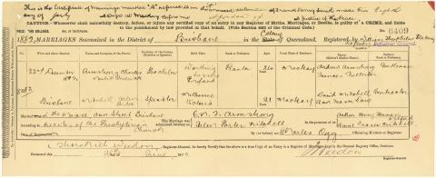 Record of the marriage between Helen Porter Mitchell and Charles Nesbitt Frederick Armstrong on 22 December 1882