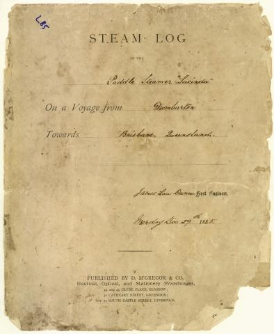 Extract from the logbook of the Queensland Government Steam Yacht Lucinda kept by the Chief Engineer on a voyage from Dumbarton towards Brisbane.
