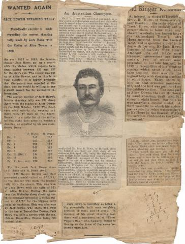 Page from John ('Jackie') Howe's Scrapbook