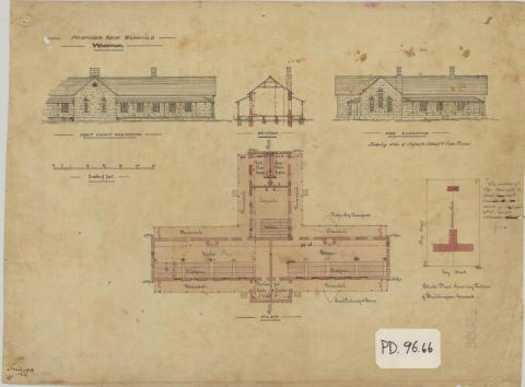Elevation, section and plan of infants school and classrooms, Warwick
