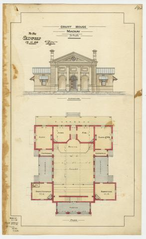 Architectural drawing of the Court House, Mackay