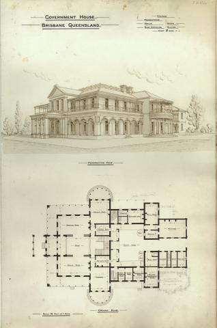 Architectural plan of Government House, Brisbane