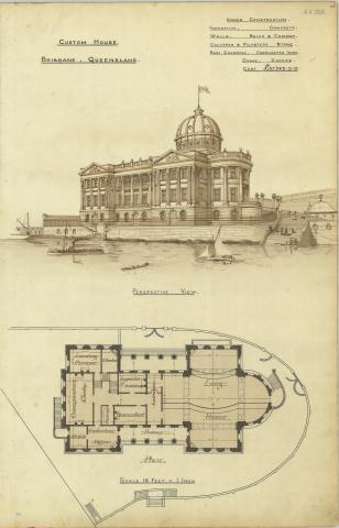 Architectural plan of Customs House, Brisbane