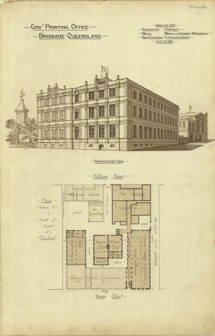 Architectural plan of the Government Printing Office, Brisbane