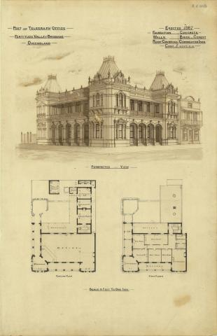 Architectural plans of the Post and Telegraph Office, Fortitude Valley