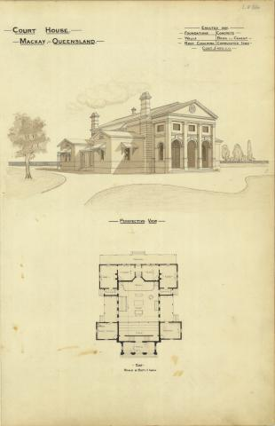 Architectural plan of the Court House, Mackay