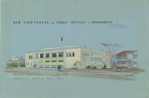 Architectural drawing of the proposed Bundaberg Court House and Public Offices