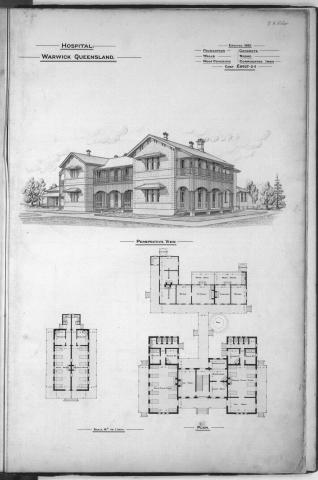 Architectural plans of the hospital at Warwick, 1888