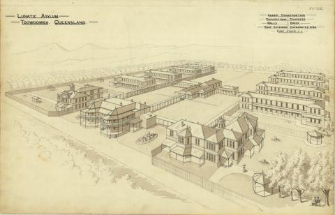Perspective drawing of the Lunatic Asylum, Toowoomba, 1888, now known as the Baillie Henderson Hospital