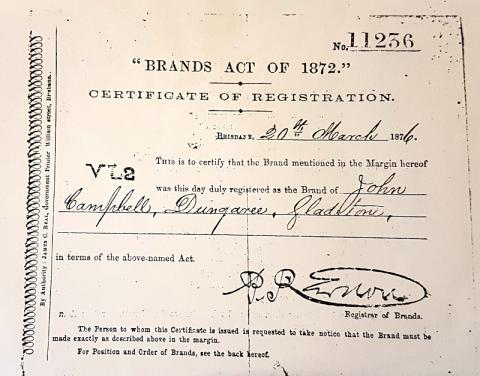 "Certificate of Registration number 11236 for VL2 Brand, dated 20th March, 1876, registered to ""John Campbell, Dungaree, Gladstone"""