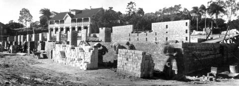 Brisbane Central (Leichhardt St) State School, showing the construction of the New Infants School, July 1950