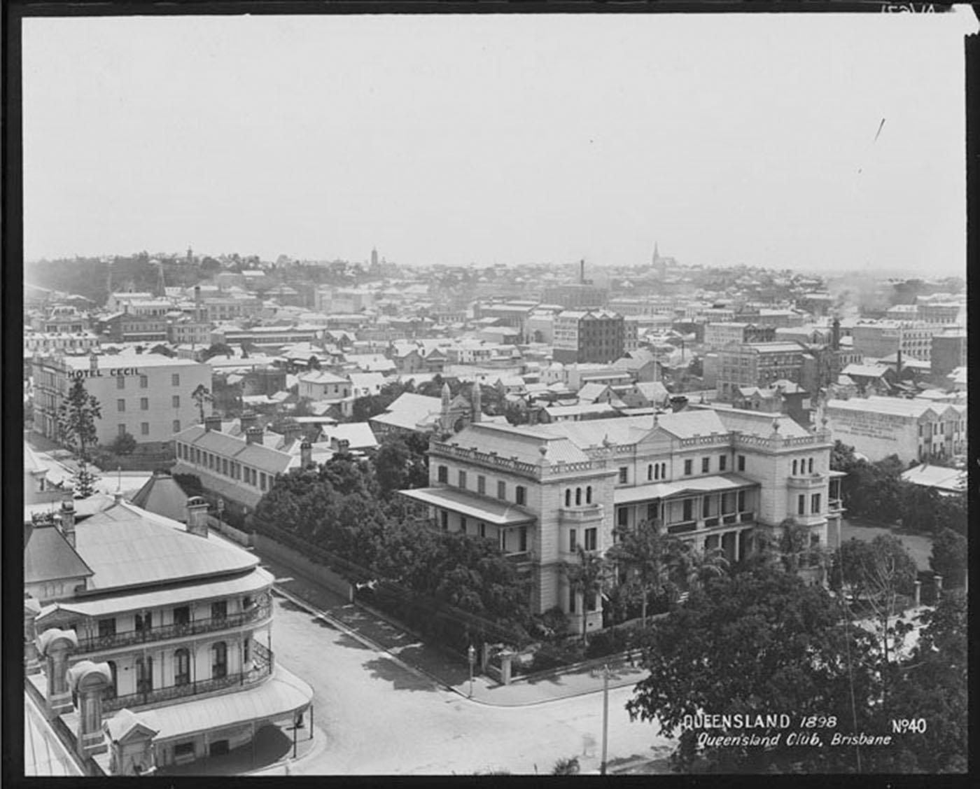 Aerial view of junction of Alice and George Street featuring the Queensland Club