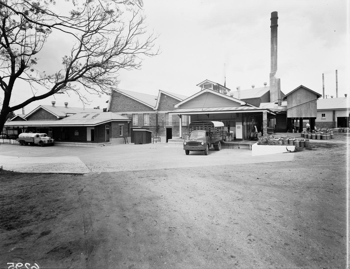 Exterior of a 1950s dairy viewing the car park and exterior of the mil factory
