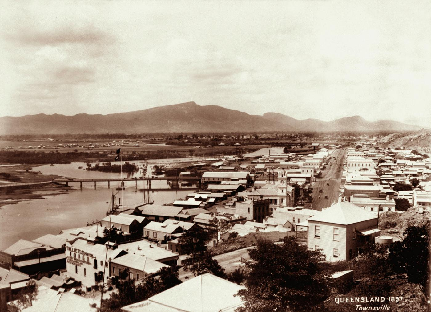 Aerial view of the developing city of Townsville from the 1890s