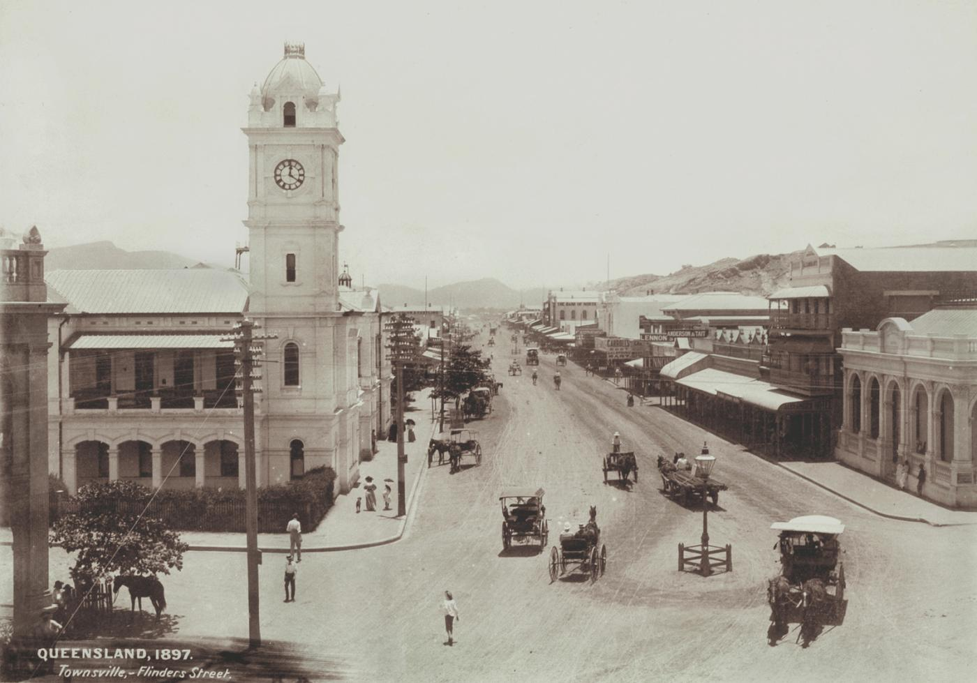 View of a grand open streets of Townsville seen in the 1890s