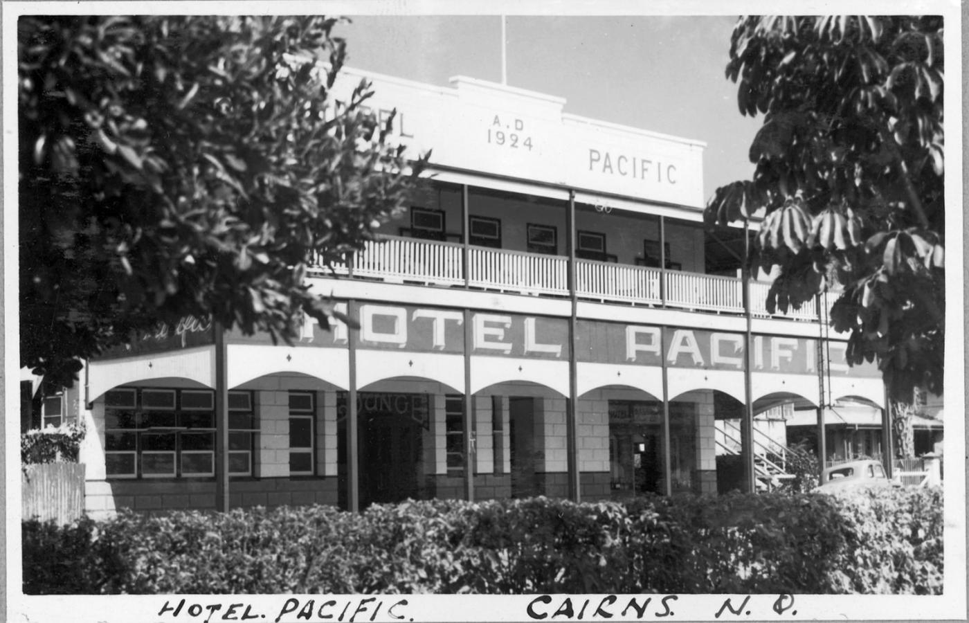 Exterior view of a grand pub in Cairns from the 1940s