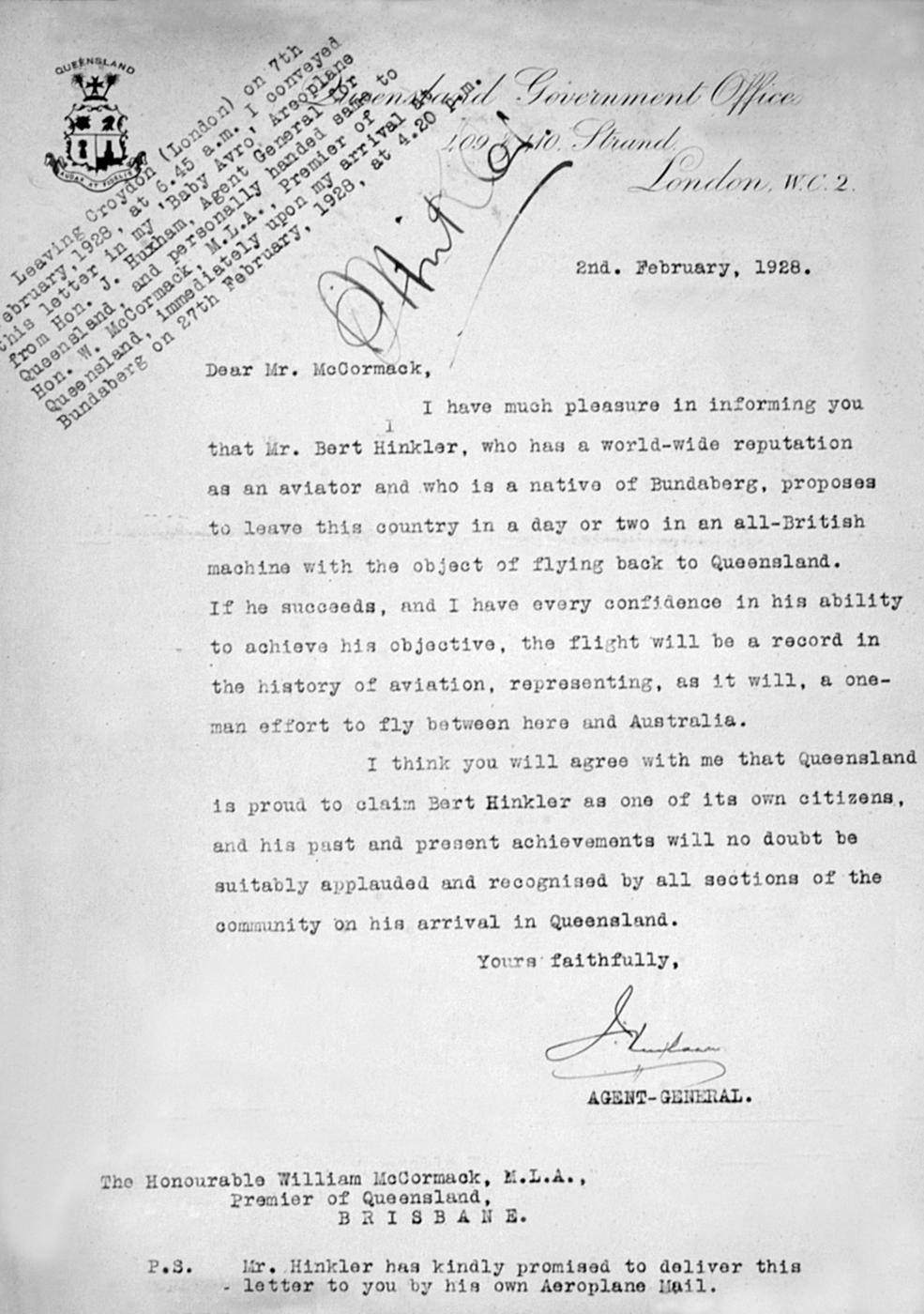 Letter carried by Bert Hinkler on his record-breaking solo flight from England to Australia, 2 February 1928