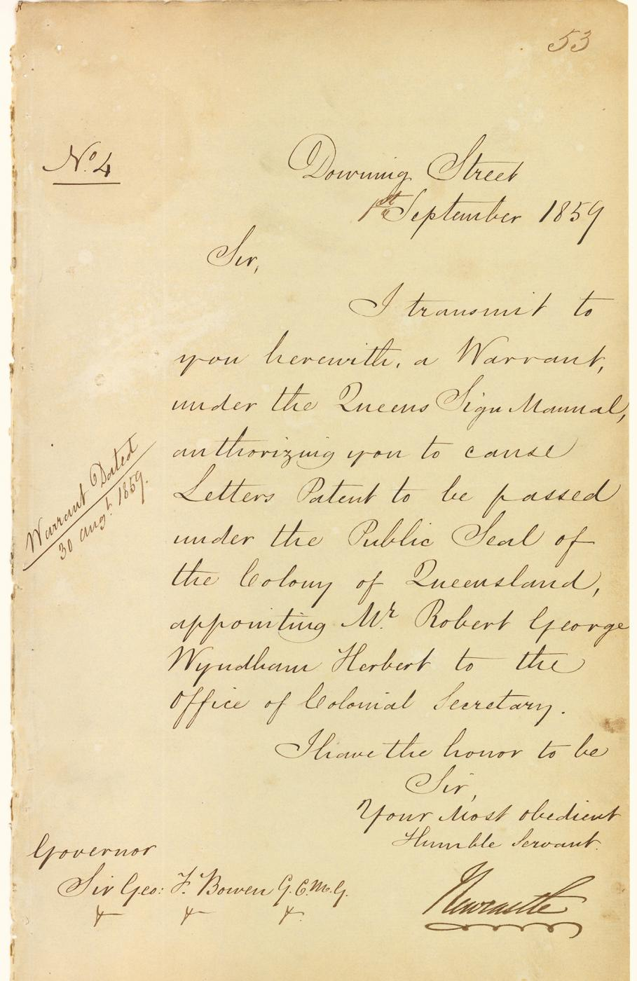 Letter appointing Sir Robert George Wyndham (1859), (Top 150: #5)