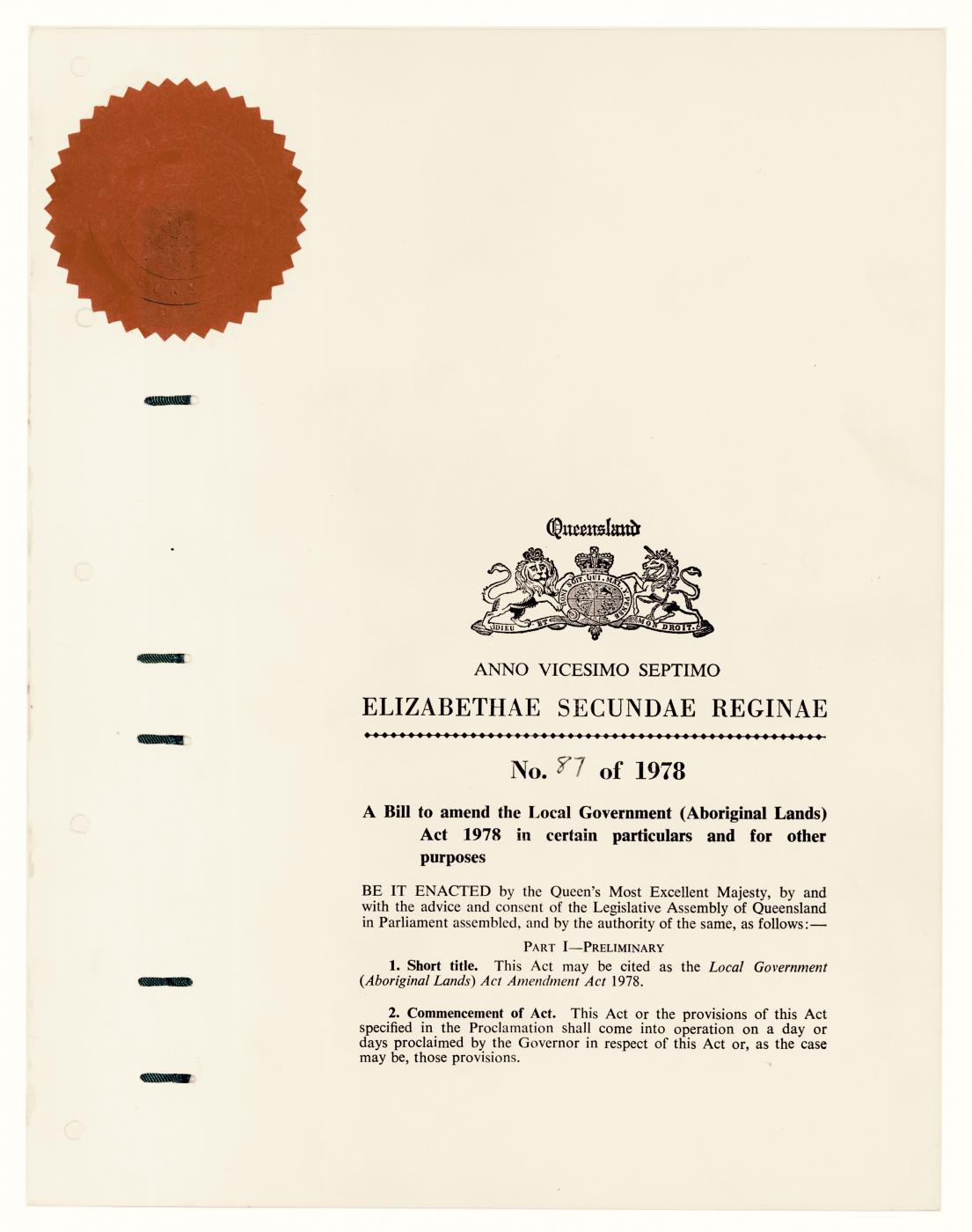 QSA ID 611200: Local Government (Aboriginal Lands) Act Amendment Act 1978