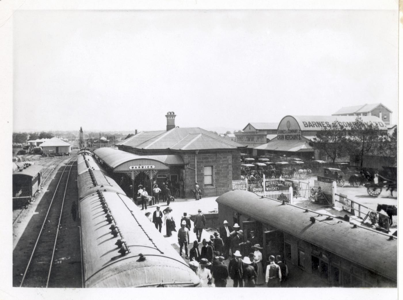 QSA DID 3078: Passengers on the platform at Warwick Railway Station, c.1905.