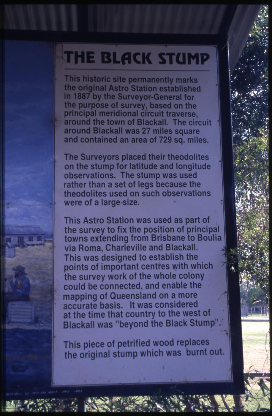 Astro Station Marker [Black Stump]: explanatory sign